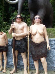 Wookey Hole topless cavewoman
