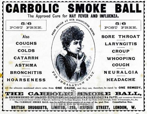 carlil vs carbolic smoke ball Sample case summary of carlill v carbolic smoke ball co [1892] 2 qb 484 prepared by claire macken facts: • carbolic smoke ball co (def) promises in ad to pay 100.
